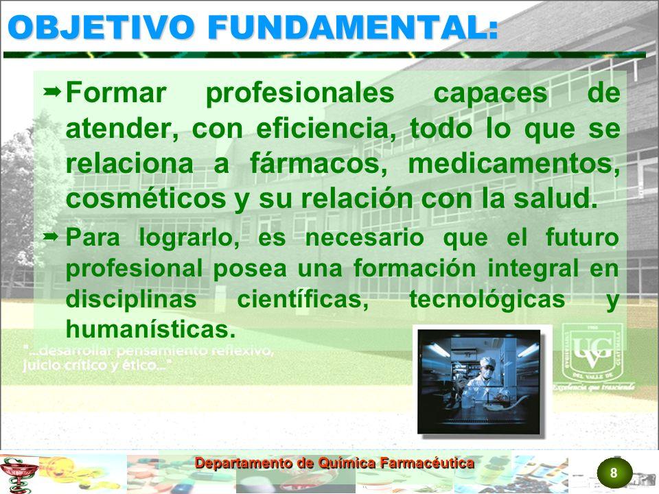 19 Departamento de Química Farmacéutica SSSS AAAA LLLL IIII DDDD AAAA