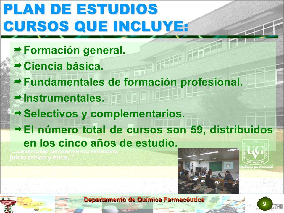 9 Departamento de Química Farmacéutica PLAN DE ESTUDIOS CURSOS QUE INCLUYE: Formación general.