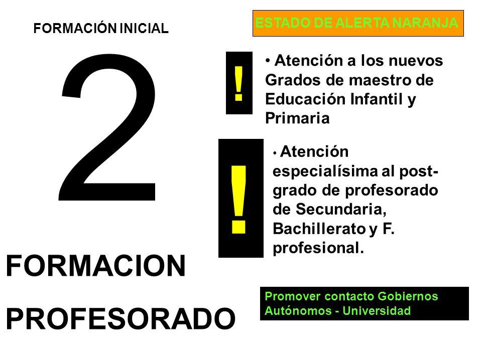 2 FORMACION PROFESORADO Atención a los nuevos Grados de maestro de Educación Infantil y Primaria FORMACIÓN INICIAL Atención especialísima al post- gra