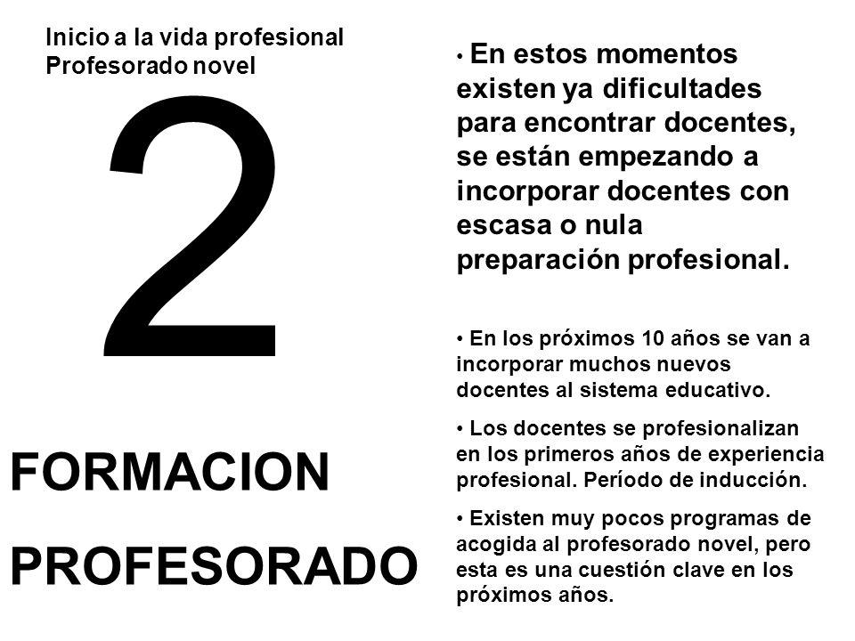 2 FORMACION PROFESORADO Inicio a la vida profesional Profesorado novel En los próximos 10 años se van a incorporar muchos nuevos docentes al sistema e