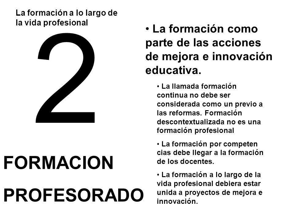 2 FORMACION PROFESORADO La formación a lo largo de la vida profesional La llamada formación continua no debe ser considerada como un previo a las reformas.