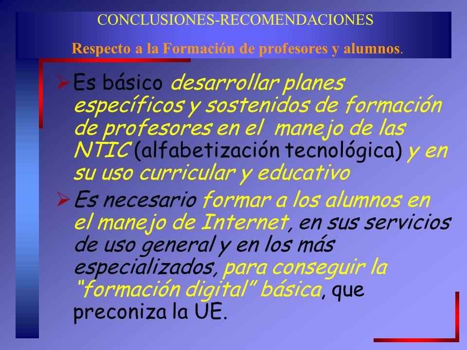 CONCLUSIONES-RECOMENDACIONES Respecto a la Formación de profesores y alumnos.