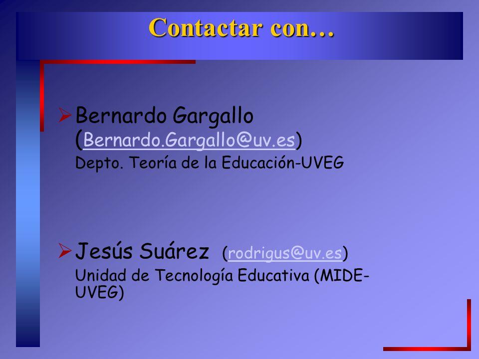 Contactar con… Bernardo Gargallo ( Bernardo.Gargallo@uv.es) Bernardo.Gargallo@uv.es Depto.