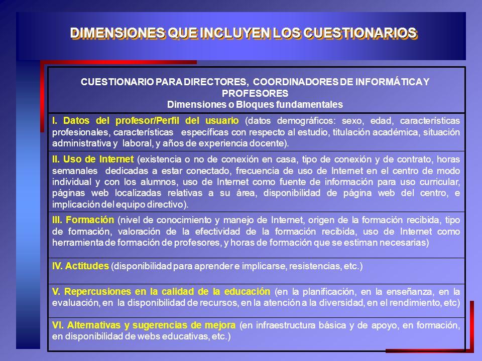 DIMENSIONES QUE INCLUYEN LOS CUESTIONARIOS VI.