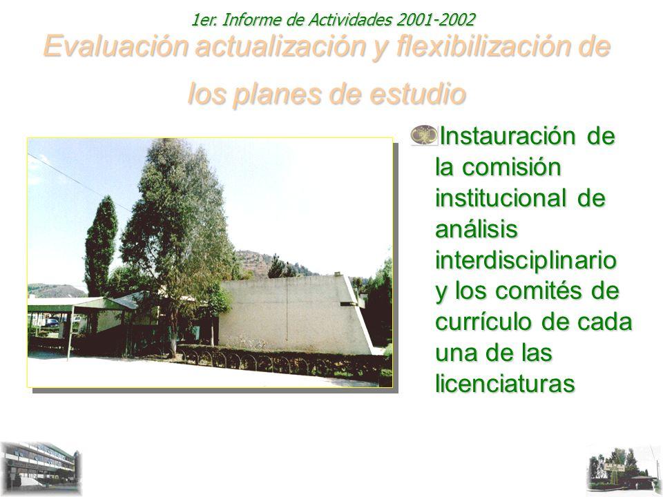 1er. Informe de Actividades 2001-2002 Evaluación actualización y flexibilización de los planes de estudio Instauración de la comisión institucional de