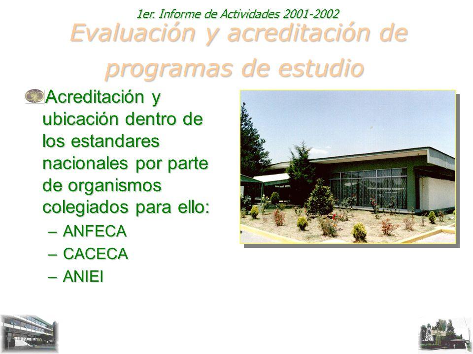 1er. Informe de Actividades 2001-2002 Evaluación y acreditación de programas de estudio Evaluación y acreditación de programas de estudio Acreditación