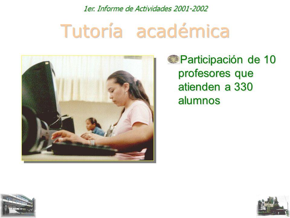 1er. Informe de Actividades 2001-2002 Tutoría académica Participación de 10 profesores que atienden a 330 alumnos