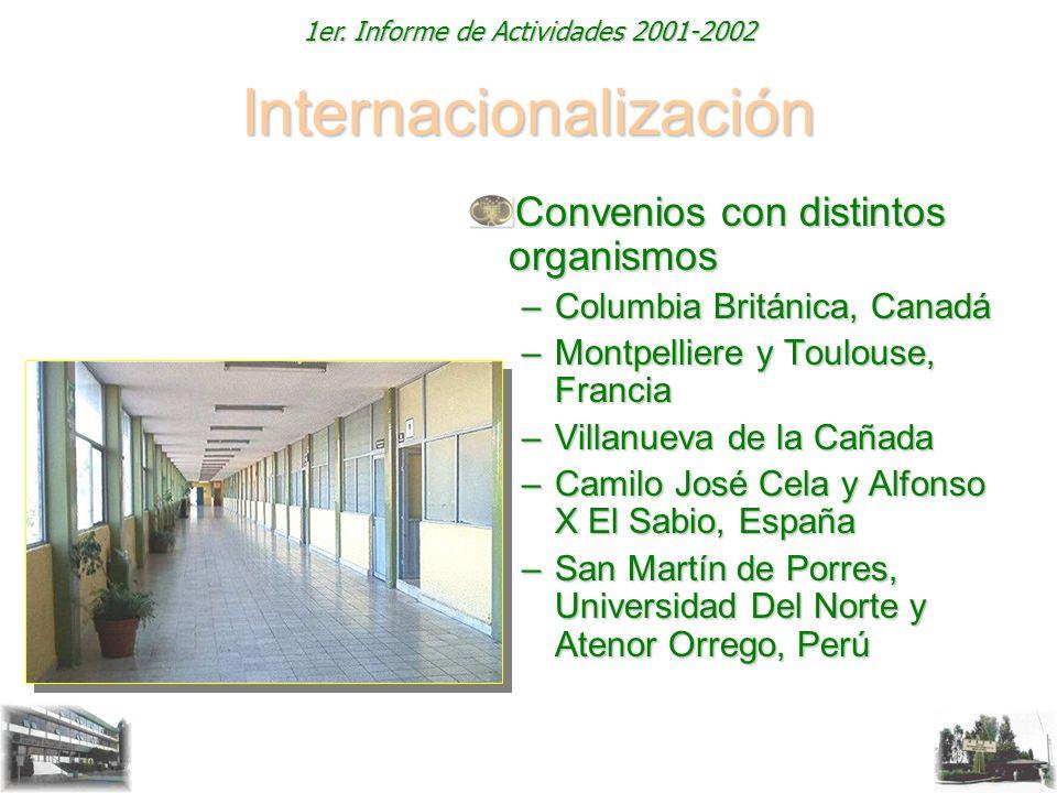 1er. Informe de Actividades 2001-2002 Internacionalización Convenios con distintos organismos –Columbia Británica, Canadá –Montpelliere y Toulouse, Fr