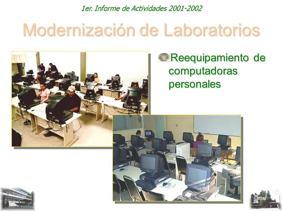 1er. Informe de Actividades 2001-2002 Modernización de Laboratorios Reequipamiento de computadoras personales