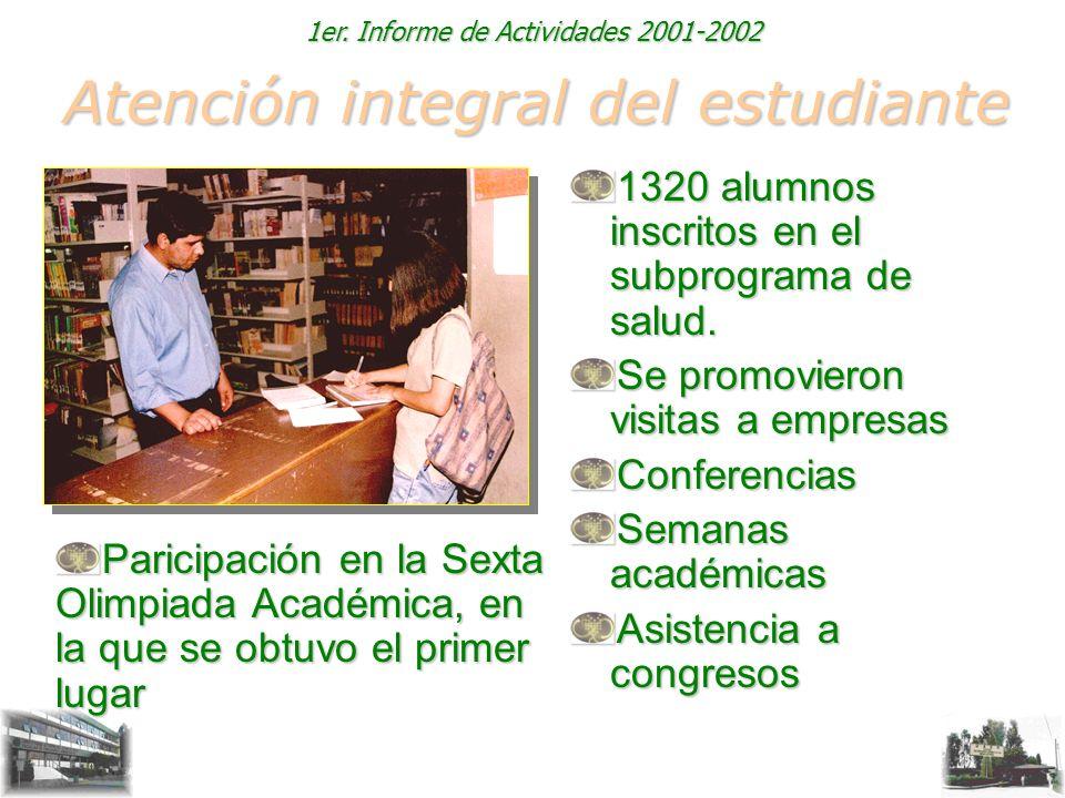1er. Informe de Actividades 2001-2002 Atención integral del estudiante 1320 alumnos inscritos en el subprograma de salud. Se promovieron visitas a emp