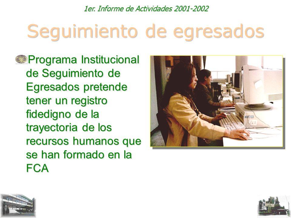 1er. Informe de Actividades 2001-2002 Seguimiento de egresados Programa Institucional de Seguimiento de Egresados pretende tener un registro fidedigno
