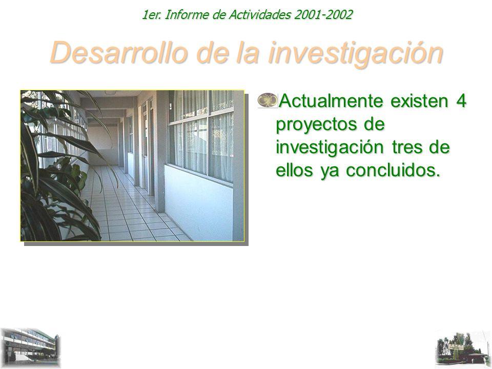1er. Informe de Actividades 2001-2002 Desarrollo de la investigación Actualmente existen 4 proyectos de investigación tres de ellos ya concluidos.