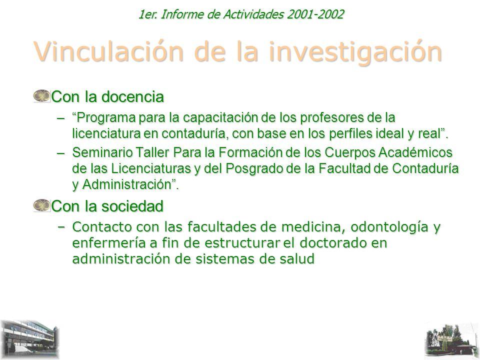 1er. Informe de Actividades 2001-2002 Vinculación de la investigación Con la docencia –Programa para la capacitación de los profesores de la licenciat