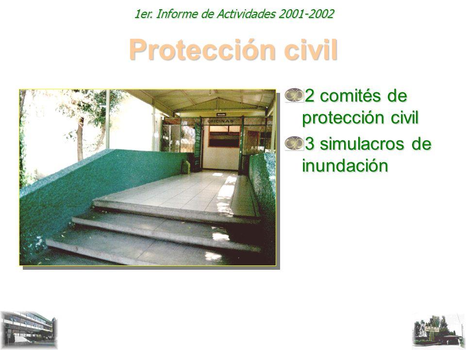 1er. Informe de Actividades 2001-2002 Protección civil 2 comités de protección civil 3 simulacros de inundación