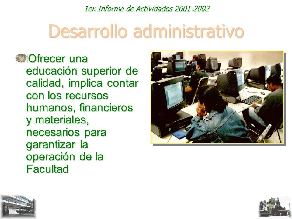 1er. Informe de Actividades 2001-2002 Desarrollo administrativo Ofrecer una educación superior de calidad, implica contar con los recursos humanos, fi
