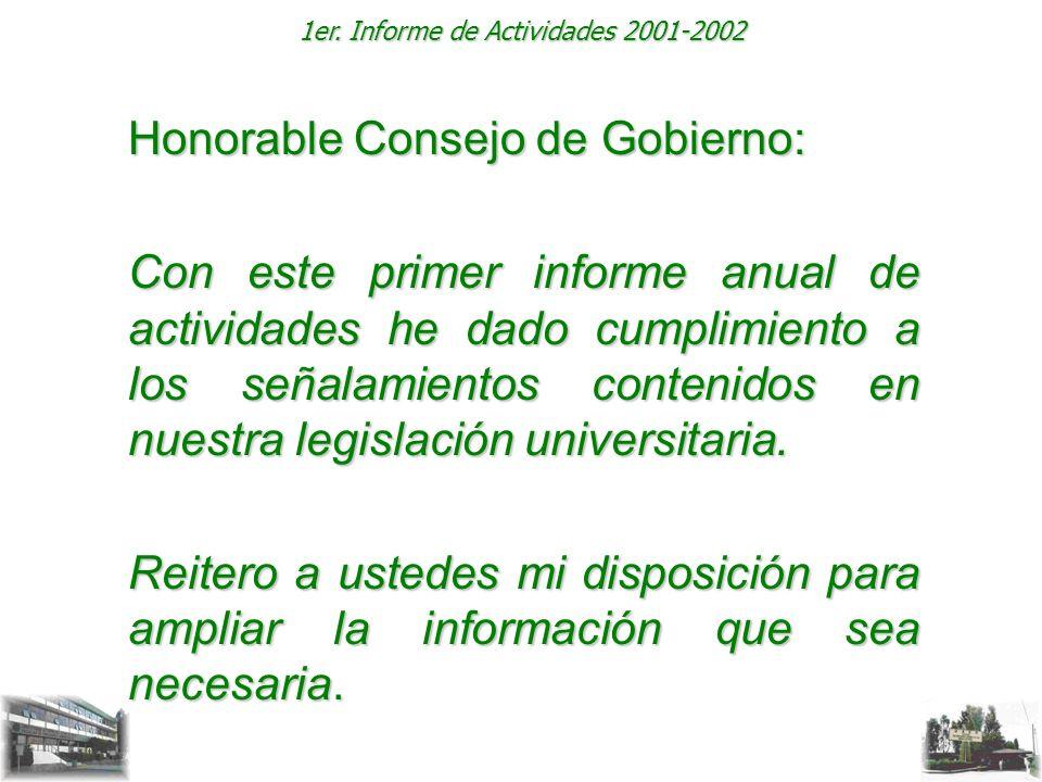 1er. Informe de Actividades 2001-2002 Honorable Consejo de Gobierno: Con este primer informe anual de actividades he dado cumplimiento a los señalamie