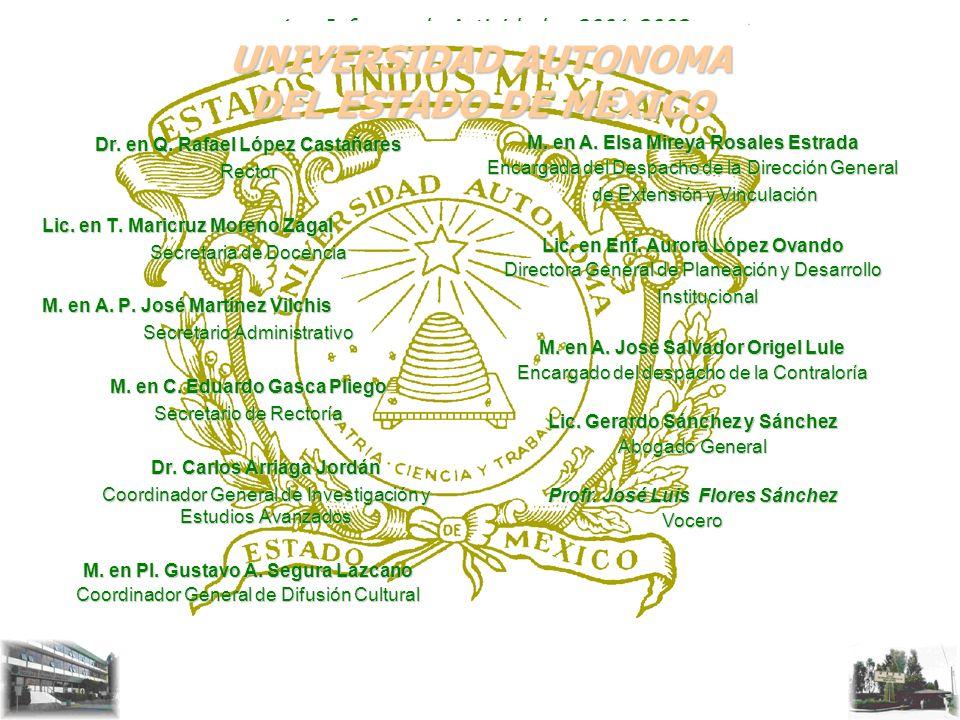1er. Informe de Actividades 2001-2002 UNIVERSIDAD AUTONOMA DEL ESTADO DE MEXICO Dr. en Q. Rafael López Castañares Rector Lic. en T. Maricruz Moreno Za