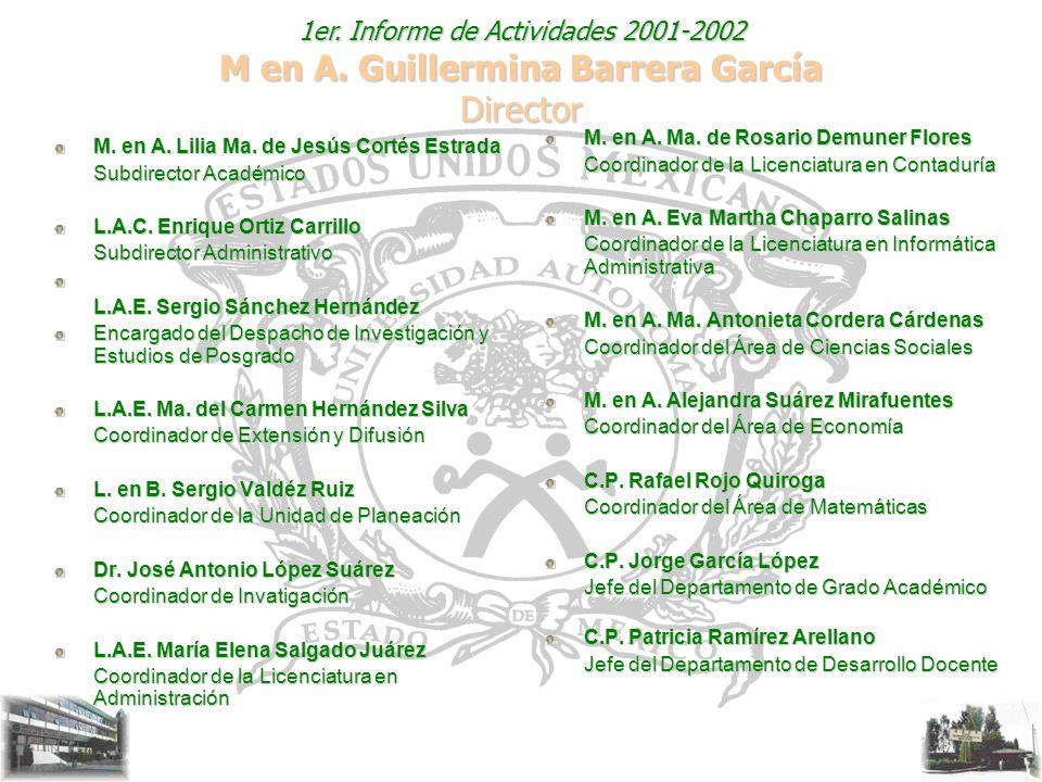 1er. Informe de Actividades 2001-2002 M en A. Guillermina Barrera García Director M. en A. Lilia Ma. de Jesús Cortés Estrada Subdirector Académico L.A