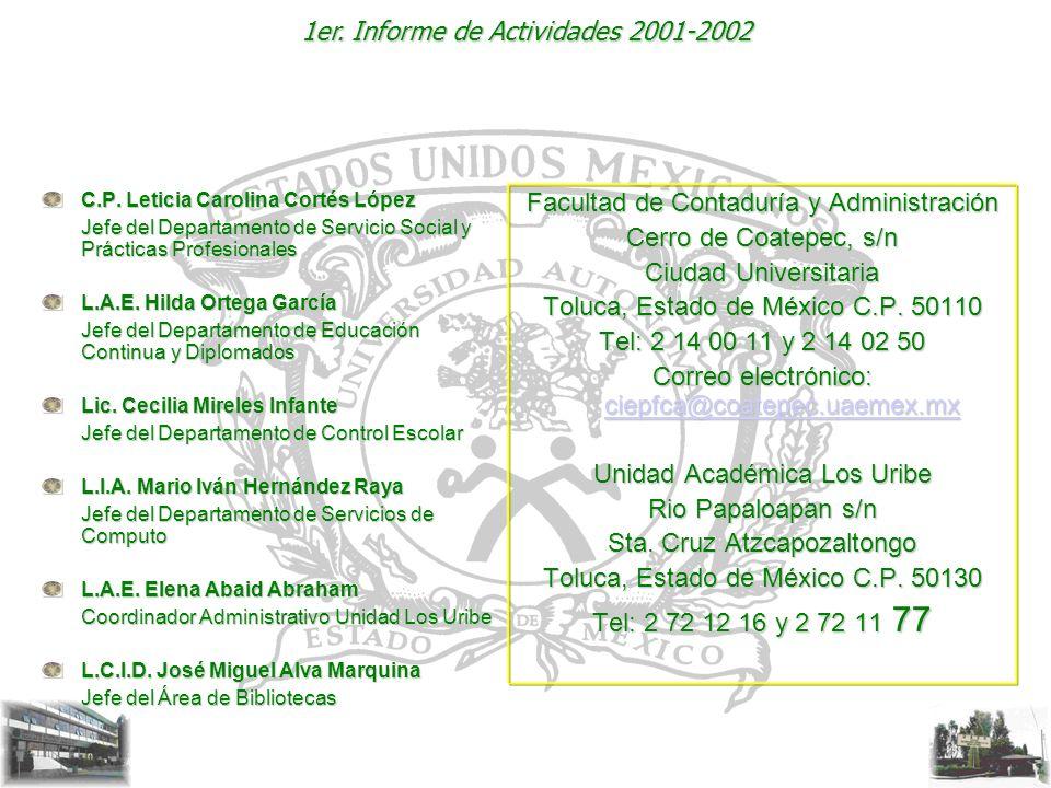 1er. Informe de Actividades 2001-2002 C.P. Leticia Carolina Cortés López Jefe del Departamento de Servicio Social y Prácticas Profesionales L.A.E. Hil