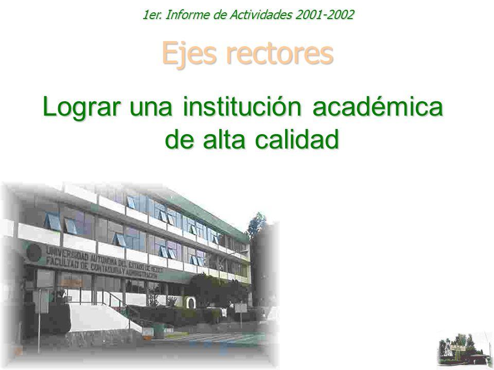 1er. Informe de Actividades 2001-2002 Ejes rectores Lograr una institución académica de alta calidad