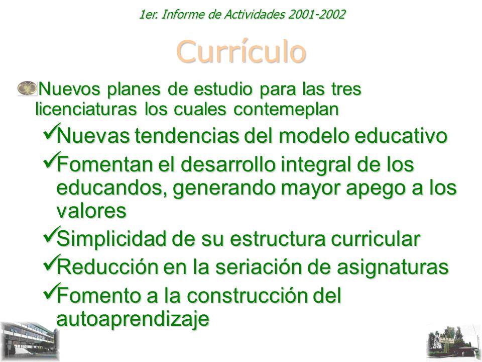 1er. Informe de Actividades 2001-2002 Currículo Nuevos planes de estudio para las tres licenciaturas los cuales contemeplan Nuevas tendencias del mode