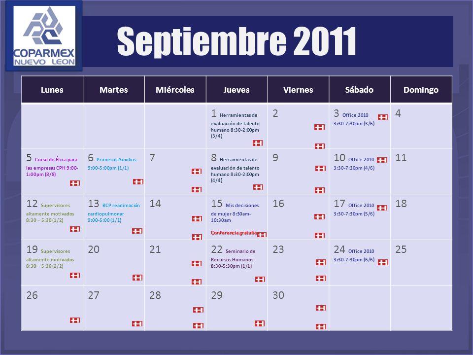 LunesMartesMiércolesJuevesViernesSábadoDomingo 1 Herramientas de evaluación de talento humano 8:30-2:00pm (3/4) 23 Office 2010 3:30-7:30pm (3/6) 4 5 C