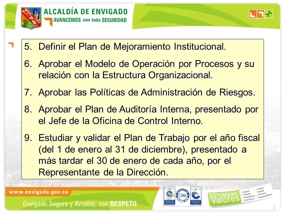 5.Definir el Plan de Mejoramiento Institucional. 6.Aprobar el Modelo de Operación por Procesos y su relación con la Estructura Organizacional. 7.Aprob