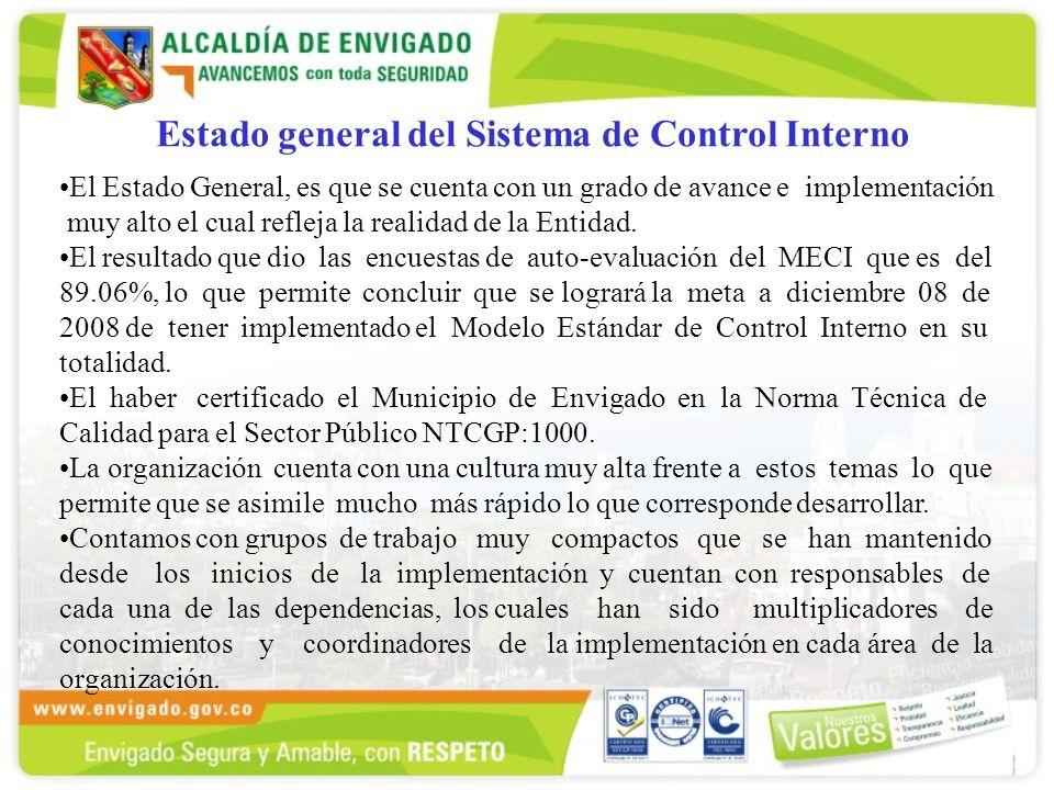 Estado general del Sistema de Control Interno El Estado General, es que se cuenta con un grado de avance e implementación muy alto el cual refleja la