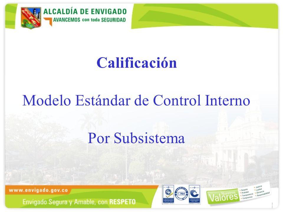 Calificación Modelo Estándar de Control Interno Por Subsistema