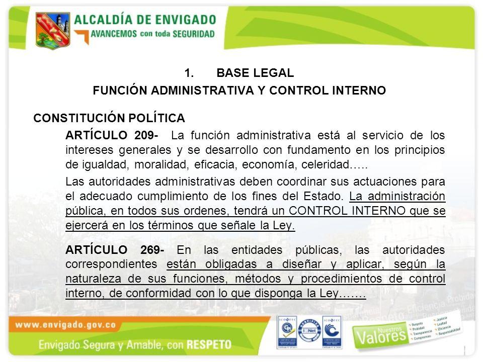 1.BASE LEGAL FUNCIÓN ADMINISTRATIVA Y CONTROL INTERNO CONSTITUCIÓN POLÍTICA ARTÍCULO 209- La función administrativa está al servicio de los intereses