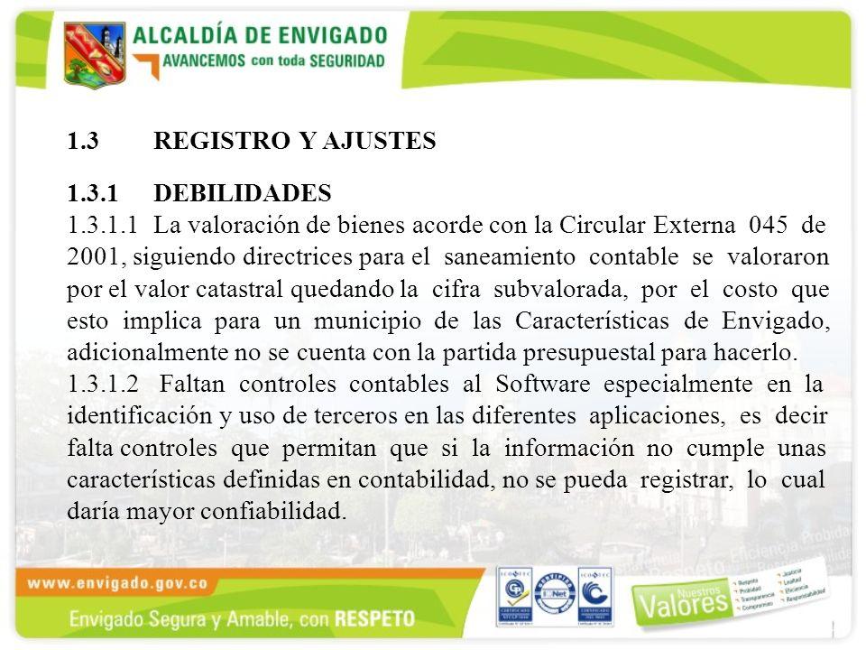 1.3REGISTRO Y AJUSTES 1.3.1 DEBILIDADES 1.3.1.1La valoración de bienes acorde con la Circular Externa 045 de 2001, siguiendo directrices para el sanea