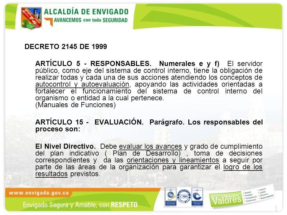 DECRETO 2145 DE 1999 ARTÍCULO 5 - RESPONSABLES. Numerales e y f) El servidor público, como eje del sistema de control interno, tiene la obligación de