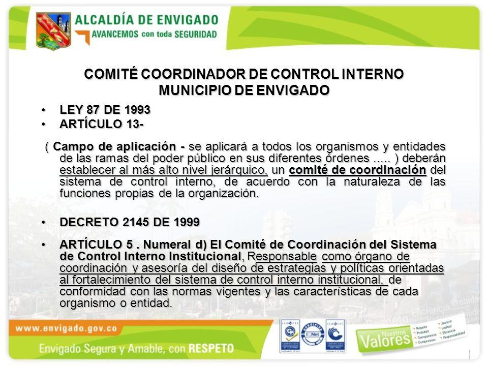 COMITÉ COORDINADOR DE CONTROL INTERNO MUNICIPIO DE ENVIGADO LEY 87 DE 1993LEY 87 DE 1993 ARTÍCULO 13-ARTÍCULO 13- ( Campo de aplicación - se aplicará