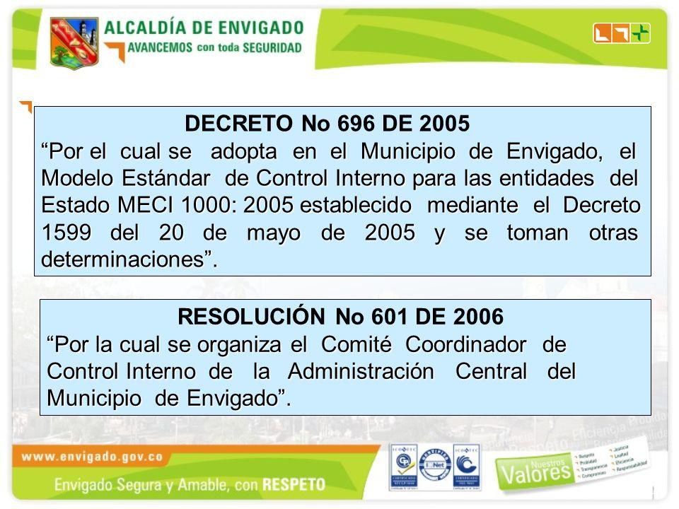 DECRETO No 696 DE 2005 Por el cual se adopta en el Municipio de Envigado, el Modelo Estándar de Control Interno para las entidades del Estado MECI 1000: 2005 establecido mediante el Decreto 1599 del 20 de mayo de 2005 y se toman otras determinaciones.