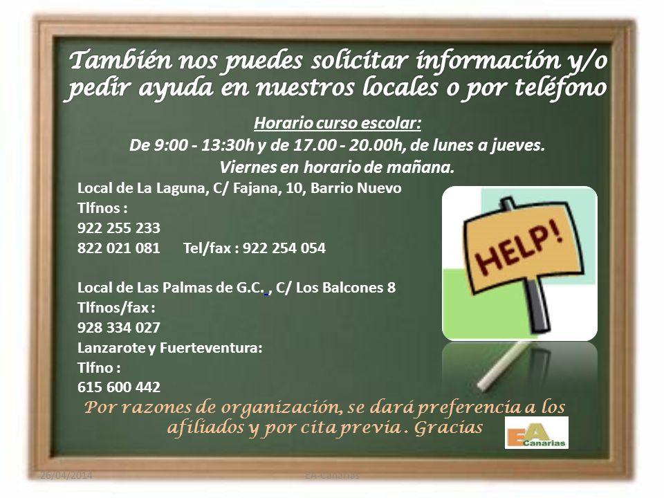 26/04/2014EA-Canarias El baremo se encuentra en el anexo VIII: Lo encontrarás en nuestra web o bien en, Página consejería novedades Convocatoria del c