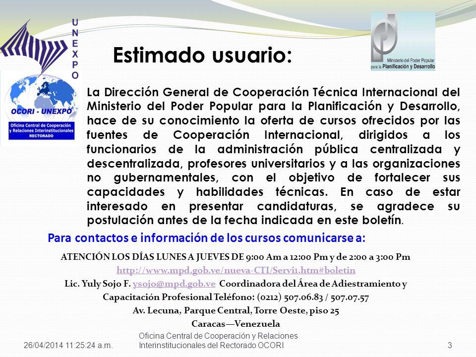 Para contactos e información de los cursos comunicarse a: ATENCIÓN LOS DÍAS LUNES A JUEVES DE 9:00 Am a 12:00 Pm y de 2:00 a 3:00 Pm http://www.mpd.gob.ve/nueva-CTI/Servi1.htm#boletin Lic.