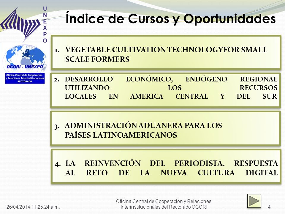 Índice de Cursos y Oportunidades 4 1.VEGETABLE CULTIVATION TECHNOLOGYFOR SMALL SCALE FORMERS VEGETABLE CULTIVATION TECHNOLOGYFOR SMALL SCALE FORMERS 1.VEGETABLE CULTIVATION TECHNOLOGYFOR SMALL SCALE FORMERS VEGETABLE CULTIVATION TECHNOLOGYFOR SMALL SCALE FORMERS 2.DESARROLLO ECONÓMICO, ENDÓGENO REGIONAL UTILIZANDO LOS RECURSOS LOCALES EN AMERICA CENTRAL Y DEL SURDESARROLLO ECONÓMICO, ENDÓGENO REGIONAL UTILIZANDO LOS RECURSOS LOCALES EN AMERICA CENTRAL Y DEL SUR 2.DESARROLLO ECONÓMICO, ENDÓGENO REGIONAL UTILIZANDO LOS RECURSOS LOCALES EN AMERICA CENTRAL Y DEL SURDESARROLLO ECONÓMICO, ENDÓGENO REGIONAL UTILIZANDO LOS RECURSOS LOCALES EN AMERICA CENTRAL Y DEL SUR 3.ADMINISTRACIÓN ADUANERA PARA LOS PAÍSES LATINOAMERICANOS ADMINISTRACIÓN ADUANERA PARA LOS PAÍSES LATINOAMERICANOS 3.ADMINISTRACIÓN ADUANERA PARA LOS PAÍSES LATINOAMERICANOS ADMINISTRACIÓN ADUANERA PARA LOS PAÍSES LATINOAMERICANOS 4.LA REINVENCIÓN DEL PERIODISTA.