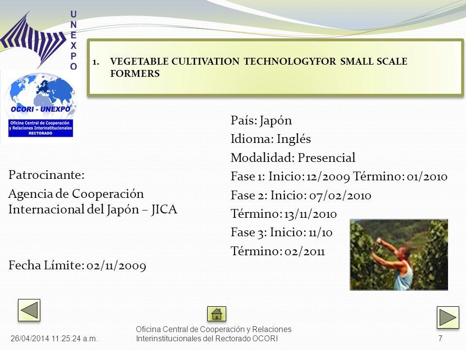 Patrocinante: Agencia de Cooperación Internacional del Japón – JICA Fecha Límite: 02/11/2009 País: Japón Idioma: Inglés Modalidad: Presencial Fase 1: Inicio: 12/2009 Término: 01/2010 Fase 2: Inicio: 07/02/2010 Término: 13/11/2010 Fase 3: Inicio: 11/10 Término: 02/2011 Oficina Central de Cooperación y Relaciones Interinstitucionales del Rectorado OCORI7 1.VEGETABLE CULTIVATION TECHNOLOGYFOR SMALL SCALE FORMERS VEGETABLE CULTIVATION TECHNOLOGYFOR SMALL SCALE FORMERS 1.VEGETABLE CULTIVATION TECHNOLOGYFOR SMALL SCALE FORMERS VEGETABLE CULTIVATION TECHNOLOGYFOR SMALL SCALE FORMERS 26/04/2014 11:27:01 a.m.