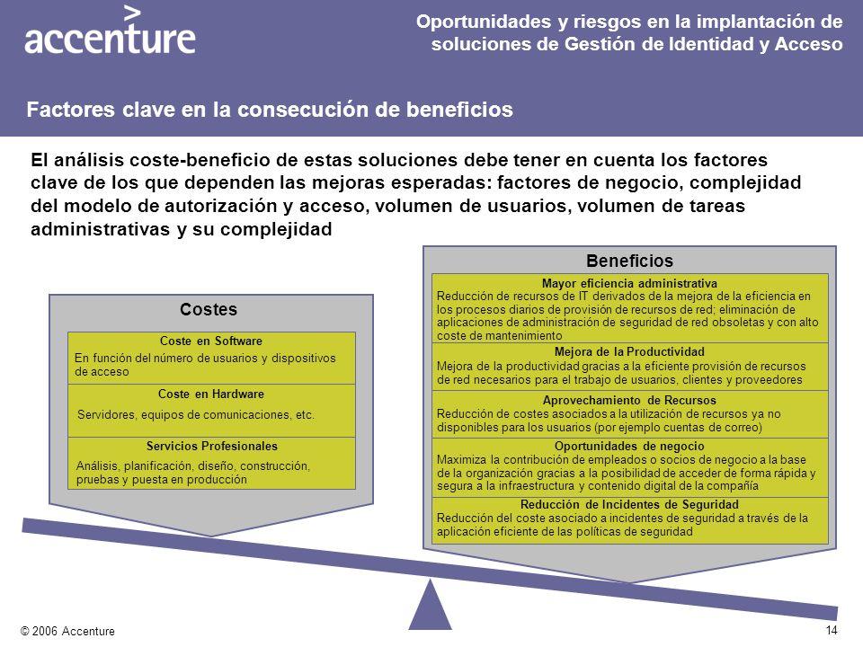 14 © 2006 Accenture Beneficios El análisis coste-beneficio de estas soluciones debe tener en cuenta los factores clave de los que dependen las mejoras