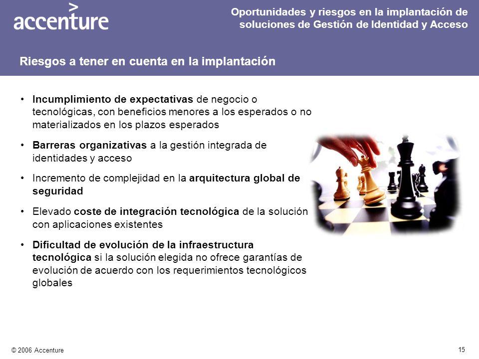 15 © 2006 Accenture Incumplimiento de expectativas de negocio o tecnológicas, con beneficios menores a los esperados o no materializados en los plazos