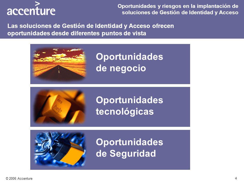 4 © 2006 Accenture Oportunidades y riesgos en la implantación de soluciones de Gestión de Identidad y Acceso Oportunidades de negocio Oportunidades te