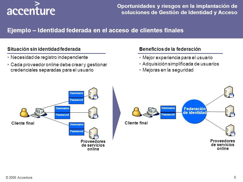 6 © 2006 Accenture Necesidad de registro independiente Cada proveedor online debe crear y gestionar credenciales separadas para el usuario Mejor exper
