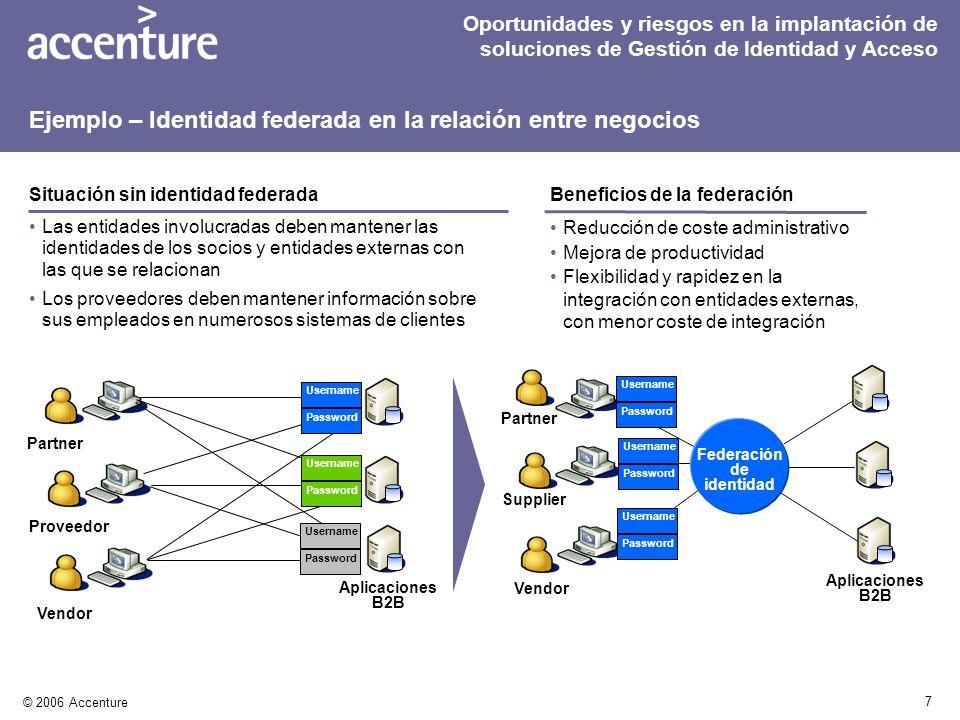 7 © 2006 Accenture Reducción de coste administrativo Mejora de productividad Flexibilidad y rapidez en la integración con entidades externas, con meno