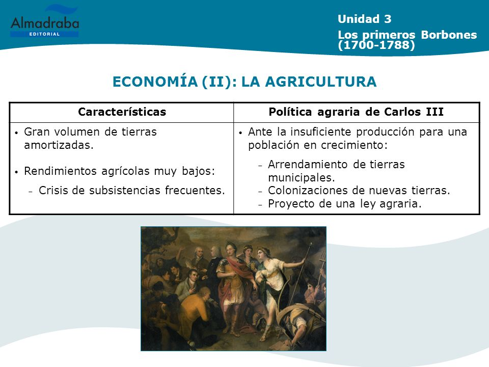 ECONOMÍA (II): LA AGRICULTURA Unidad 3 Los primeros Borbones (1700-1788) CaracterísticasPolítica agraria de Carlos III Gran volumen de tierras amortiz