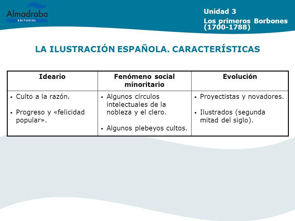 LA ILUSTRACIÓN ESPAÑOLA. CARACTERÍSTICAS Unidad 3 Los primeros Borbones (1700-1788) IdearioFenómeno social minoritario Evolución Culto a la razón. Pro