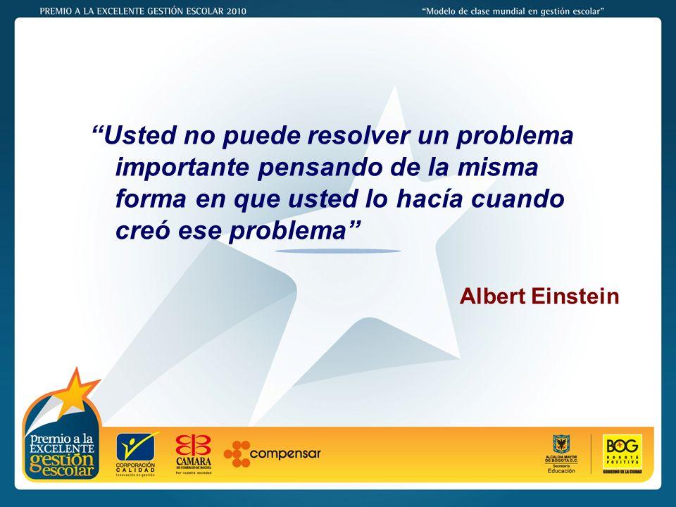 PREMIO A LA EXCELENTE GESTIÓN ESCOLAR - 2011 Usted no puede resolver un problema importante pensando de la misma forma en que usted lo hacía cuando creó ese problema Albert Einstein