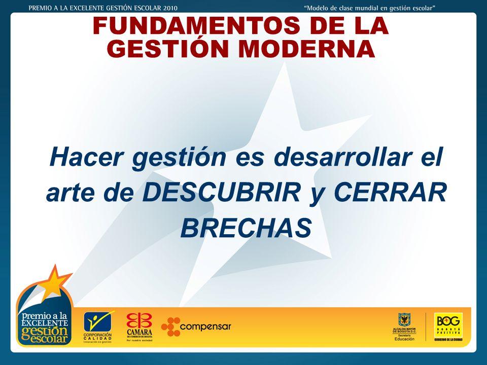 PREMIO A LA EXCELENTE GESTIÓN ESCOLAR - 2011 FUNDAMENTOS DE LA GESTIÓN MODERNA Hacer gestión es desarrollar el arte de DESCUBRIR y CERRAR BRECHAS