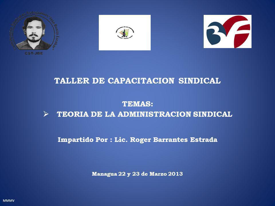 MMMV TALLER DE CAPACITACION SINDICAL TEMAS: TEORIA DE LA ADMINISTRACION SINDICAL Impartido Por : Lic.