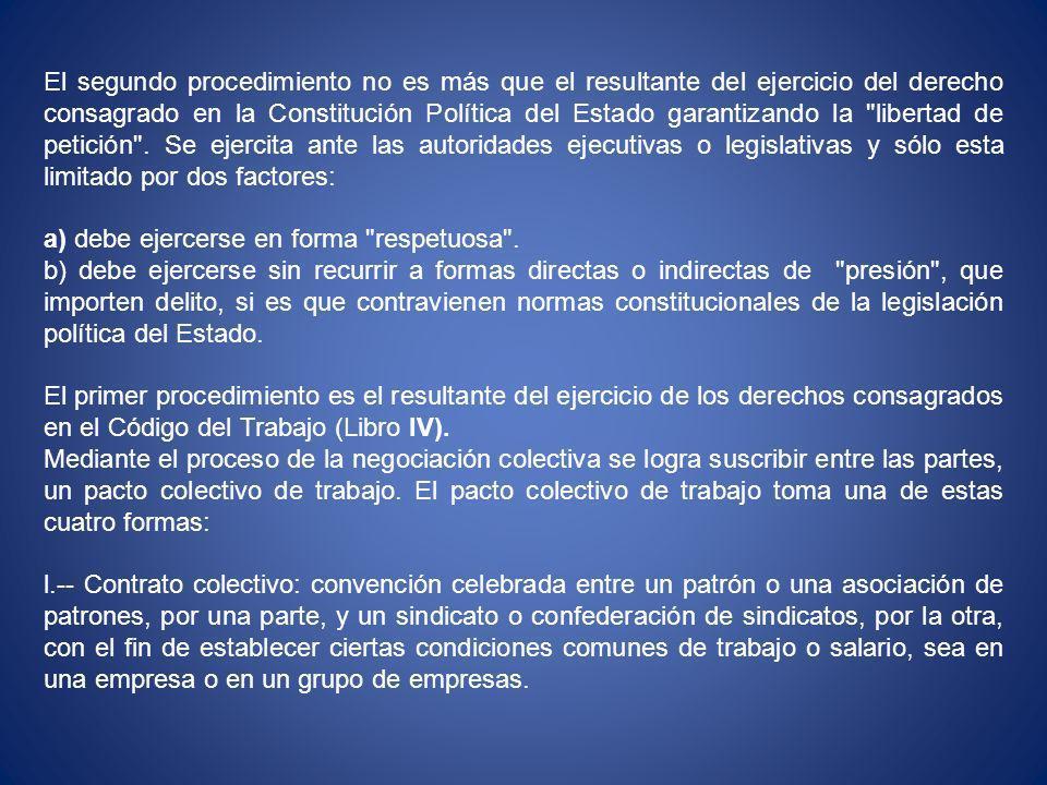 El segundo procedimiento no es más que el resultante del ejercicio del derecho consagrado en la Constitución Política del Estado garantizando la libertad de petición .