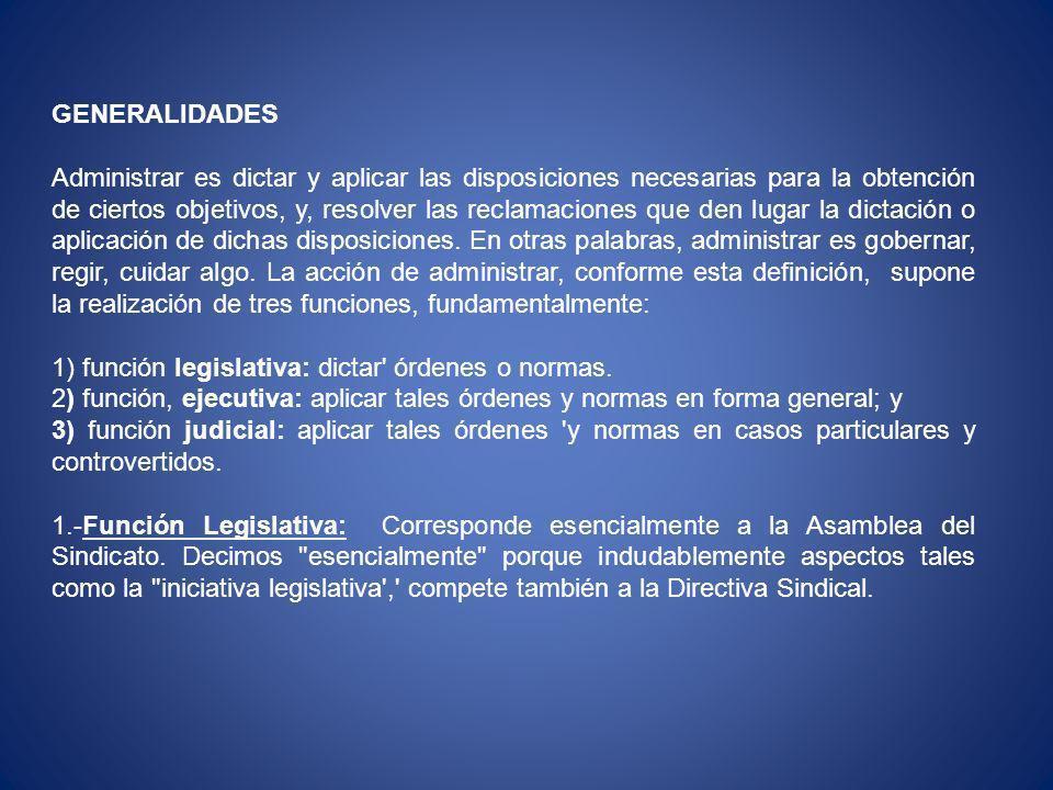 2.-Función Ejecutiva: Reside esencialmente en la Directiva Sindical.